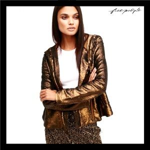 NEW FREE PEOPLE SEQUIN HOODED JACKET